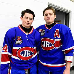 TORONTO, ON  - OCT 29,  2017: Ontario Junior Hockey League game between the Toronto Jr. Canadiens and the Toronto Patriots, Tyler Sampson #44 and Brayden Sampson #4 of the Toronto Jr. Canadiens before the game.<br /> (Photo by Andy Corneau / OJHL Images)