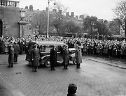 """Funeral of Sean South.04/01/1957. Funeral of Sean South.04/01/1957..Seán South (1928-1 January 1957) was a member of an IRA military column led by Sean Garland on a raid against a Royal Ulster Constabulary barracks in Brookeborough, County Fermanagh, Northern Ireland on New Year's Day, 1957. South died of wounds sustained during the raid along with another IRA volunteer, Fergal O'Hanlon..Early life.Seán South was born in Limerick where he was educated at Sexton Street Christian Brothers School, later working as a clerk in a local wood-importing company called Mc Mahon's. South was a member of a number of organisations including the Gaelic League, Legion of Mary, Clann na Poblachta and Sinn Féin. In Limerick he founded the local branch of Maria Duce, a radical Catholic organisation, where he also edited both An Gath and An Giolla. He had received military training as a lieutenant of the Irish army reserve, the LDF which would later become the FCA (An Fórsa Cosanta Áitiúil or Local Defence Force), before he became a volunteer in the Irish Republican Army. ..Death.On New Year's Day 1957, fourteen IRA volunteers crossed the border into County Fermanagh to launch an attack on a joint RUC/B Specials barracks in Brookeborough. During the attack a number of volunteers were injured: two fatally. Fergal O'Hanlon and Seán South died of their wounds as they were making escape. They were carried into an old sandstone barn by their comrades, which was later demolished by a British army jeep. The stone from the barn was used to build a memorial at the site. ..Song.The attack on the barracks inspired two popular rebel songs: 'Seán South of Garryowen' and 'The Patriot Game '. .?.""""Sean South"""", also known as """"Sean South of Garryowen"""", written by Sean Costelloe, County Limerick to the tune of another republican ballad """"Roddy McCorley""""and made famous by the Wolfe Tones. The popularity of this song has led to"""