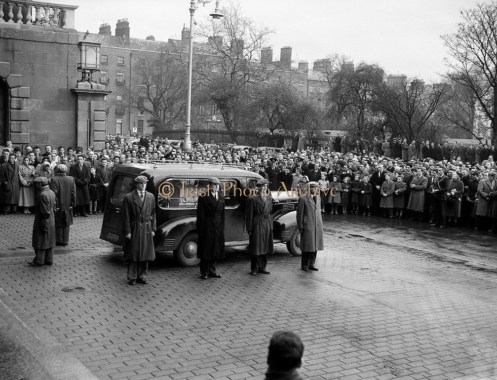 "Funeral of Sean South.04/01/1957. Funeral of Sean South.04/01/1957..Seán South (1928-1 January 1957) was a member of an IRA military column led by Sean Garland on a raid against a Royal Ulster Constabulary barracks in Brookeborough, County Fermanagh, Northern Ireland on New Year's Day, 1957. South died of wounds sustained during the raid along with another IRA volunteer, Fergal O'Hanlon..Early life.Seán South was born in Limerick where he was educated at Sexton Street Christian Brothers School, later working as a clerk in a local wood-importing company called Mc Mahon's. South was a member of a number of organisations including the Gaelic League, Legion of Mary, Clann na Poblachta and Sinn Féin. In Limerick he founded the local branch of Maria Duce, a radical Catholic organisation, where he also edited both An Gath and An Giolla. He had received military training as a lieutenant of the Irish army reserve, the LDF which would later become the FCA (An Fórsa Cosanta Áitiúil or Local Defence Force), before he became a volunteer in the Irish Republican Army. ..Death.On New Year's Day 1957, fourteen IRA volunteers crossed the border into County Fermanagh to launch an attack on a joint RUC/B Specials barracks in Brookeborough. During the attack a number of volunteers were injured: two fatally. Fergal O'Hanlon and Seán South died of their wounds as they were making escape. They were carried into an old sandstone barn by their comrades, which was later demolished by a British army jeep. The stone from the barn was used to build a memorial at the site. ..Song.The attack on the barracks inspired two popular rebel songs: 'Seán South of Garryowen' and 'The Patriot Game '. .?.""Sean South"", also known as ""Sean South of Garryowen"", written by Sean Costelloe, County Limerick to the tune of another republican ballad ""Roddy McCorley""and made famous by the Wolfe Tones. The popularity of this song has led to"