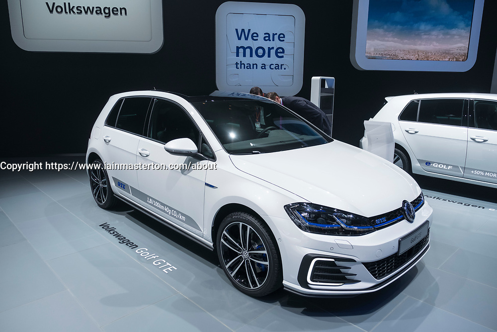 Volkswagen Golf GTE plug-in hybrid car at 87th Geneva International Motor Show in Geneva Switzerland 2017
