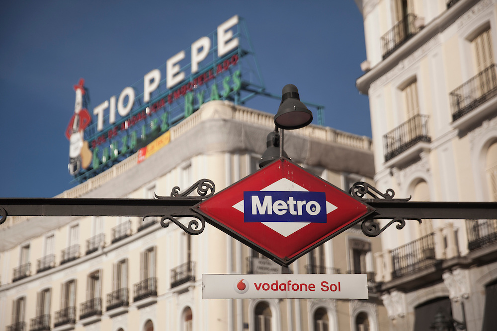 Vodafone Sol Metro station at Puerta del Sol, in Madrid, Spain.