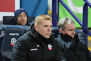 Bolton Manager Neil Lennon during the The FA Cup Third Round Replay match between Bolton Wanderers and Eastleigh at the Macron Stadium, Bolton, England on 19 January 2016. Photo by Pete Burns.