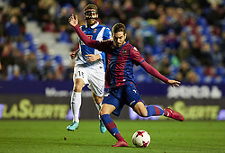January 11, 2018 - Valencia, Valencia, Spain - Campana (R) of Levante UD kicks the ball next to David Lopez of RCD Espanyol during the Copa del Rey Round of 16, second leg game between Levante UD and RCD Espanyol at Ciutat de Valencia stadium on January 11, 2018 in Valencia, Spain  (Credit Image: © David Aliaga/NurPhoto via ZUMA Press)