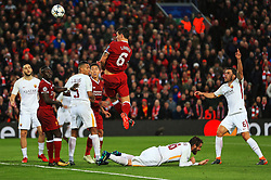 Dejan Lovren of Liverpool fires a header at goal - Mandatory by-line: Matt McNulty/JMP - 24/04/2018 - FOOTBALL - Anfield - Liverpool, England - Liverpool v Roma - UEFA Champions League Semi Final, 1st Leg
