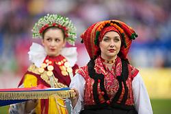 OSIJEK, CROATIA - Sunday, May 23, 2010: A Croatian girl in traditional dress before the International Friendly match between Croatia and Wales at the Stadion Gradski Vrt. (Pic by David Rawcliffe/Propaganda)