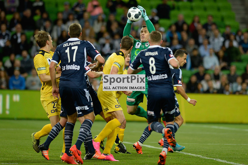 Danny Vukovic (GK) of Melbourne Victory defends in front of goal in the Westfield FFA Cup Final, 7th November 2015, Melbourne Victory FC v Perth Glory FC 2:0 win to Victory- © Mark Avellino | SportPix.org.uk