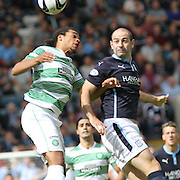 Dundee's Gary Harkins and Celtic's Jason Denayer - Dundee v Celtic SPFL Premiership at Dens Park<br />