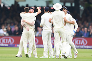 Mark Wood of England celebrates after taking the wicket of Haris Sohail of Pakistan on DAy Two of the NatWest Test Match match at Lord's, London<br /> Picture by Simon Dael/Focus Images Ltd 07866 555979<br /> 25/05/2018