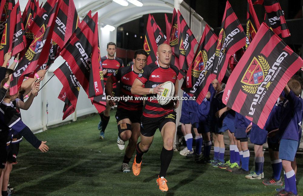 Canterbury half back Willi Heinz leads the team out.<br /> ITM Cup match between Canterbury and Wellington, held at AMI Stadium, Christchurch, New Zealand, 12 September 2014. Credit: www.photosport.co.nz