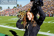 November 23, 2012: A cheerleader gets the crowd pumped up prior to the start of the NCAA Football game between the Utah Utes and the Colorado Buffaloes at Folsom Field in Boulder Colorado