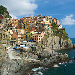 The village of Manarola on Italy's scenic coast. Manarola is the oldest village on Italy's famous Cinque Terre region.