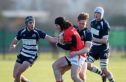 Matt Welsh (Clifton College) of Bristol Rugby Academy U18 tackles a Saracens player - Mandatory by-line: Paul Knight/JMP - 21/01/2017 - RUGBY - SGS Wise Campus - Bristol, England - Bristol Academy U18 v Saracens Academy U18 - Premiership Rugby Academy U18 League