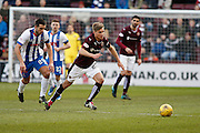 Hearts FC Defender Jordan McGhee making the break during the Ladbrokes Scottish Premiership match between Heart of Midlothian and Kilmarnock at Tynecastle Stadium, Gorgie, Scotland on 27 February 2016. Photo by Craig McAllister.