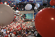 Balloons and confetti drop as U.S President Bill Clinton accepts the presidential nomination for the democrat party at the 1996 Democratic National Convention August 29, 1996 in Chicago, IL.