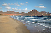 Los Genoveses beach, in the Cabo de Gata-Nijar Natural Park, Almeria, Andalusia, Southern Spain. The beach is named for the 200 Genoese ships who came in 1147 to help Alfonso VII win Almeria from the muslims. In 1571, the Spanish Armada fleet of 300 ships amassed here before the Battle of Lepanto. The park includes the Sierra del Cabo de Gata mountain range, volcanic rock landscapes, islands, coastline and coral reefs and has the only warm desert climate in Europe. The park was listed as a UNESCO Biosphere Reserve in 1997 and a Specially Protected Area of Mediterranean Importance in 2001. Picture by Manuel Cohen