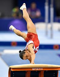 DOHA, March 24, 2018  Oksana Chusovitina of Uzbekistan competes during the Women's Vault final at the 11th FIG Artistic Gymnastics World Cup in Doha, Qatar, on March 23, 2018. Oksana Chusovitina claimed the title with 14.433 points.  wll) (Credit Image: © Nikku/Xinhua via ZUMA Wire)