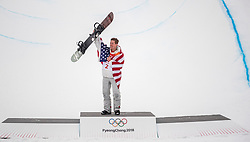 PYEONGCHANG-GUN, SOUTH KOREA - FEBRUARY 14: Shaun White of the United States celebrates after winning during the Men's Halfpipe Final at Phoenix Snow Park on February 14, 2018 in Pyeongchang-gun, South Korea.  Photo by Ronald Hoogendoorn / Sportida