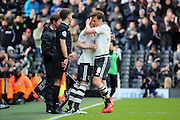 Fulham midfielder and captain, Scott Parker (08) getting subbed during the Sky Bet Championship match between Fulham and Cardiff City at Craven Cottage, London, England on 9 April 2016. Photo by Matthew Redman.