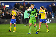 Bailey Peacock-Farrell (1) of Leeds United applauds the travelling fans at full time after a 2-1 loss to QPR during the The FA Cup 3rd round match between Queens Park Rangers and Leeds United at the Loftus Road Stadium, London, England on 6 January 2019.