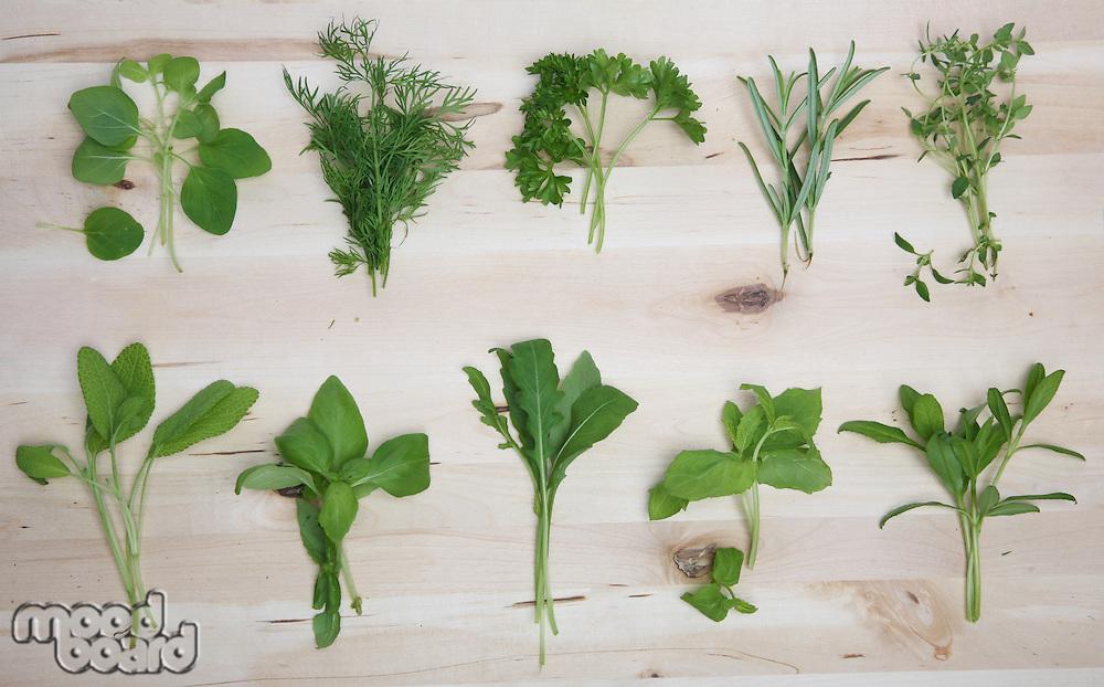 Herbs on wooden background - studio shot