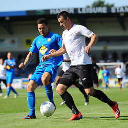 TELFORD COPYRIGHT MIKE SHERIDAN Aaron Williams of Telford during the National League North fixture between AFC Telford United and Leamington AFC at the New Bucks Head on Monday, August 26, 2019<br /> <br /> Picture credit: Mike Sheridan<br /> <br /> MS201920-005