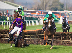 LIVERPOOL, ENGLAND - Thursday, April 9, 2015: Arctic Fire, ridden by Ruby Walsh, has a nasty fall at the last fence, during the fourth race, the Doom Bar Aintree Hurdle Grand, on the Opening Day on Day One of the Aintree Grand National Festival at Aintree Racecourse. (Pic by David Rawcliffe/Propaganda)