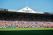 Hatters supporters celebrate as they are promoted to League 1 during the EFL Sky Bet League 2 match between Notts County and Luton Town at Meadow Lane, Nottingham, England on 5 May 2018. Picture by Jon Hobley.