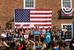 Jill Biden speaks to supporters at a rally at UVA.  Michelle Obama and Dr. Jill Biden appeared at a rally in the Newcomb Hall Plaza on the Grounds of the University of Virginia in Charlottesville, VA on September 17, 2008 to drum up support for their husband's Senator Barrack Obama (D-IL) and Senator Joe Biden (D-DE) and to raise awareness of women's issues.