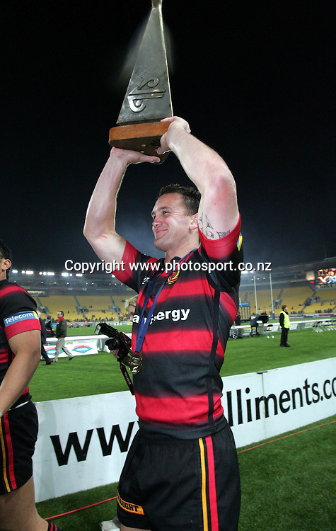 Caleb ralph with the NPC trphy after the NPC Div 1 Final, Saturday 24 October 2004,Westpac Stadium, Wellington, New Zealand. Canterbury defeated Wellington 40-27.<br />