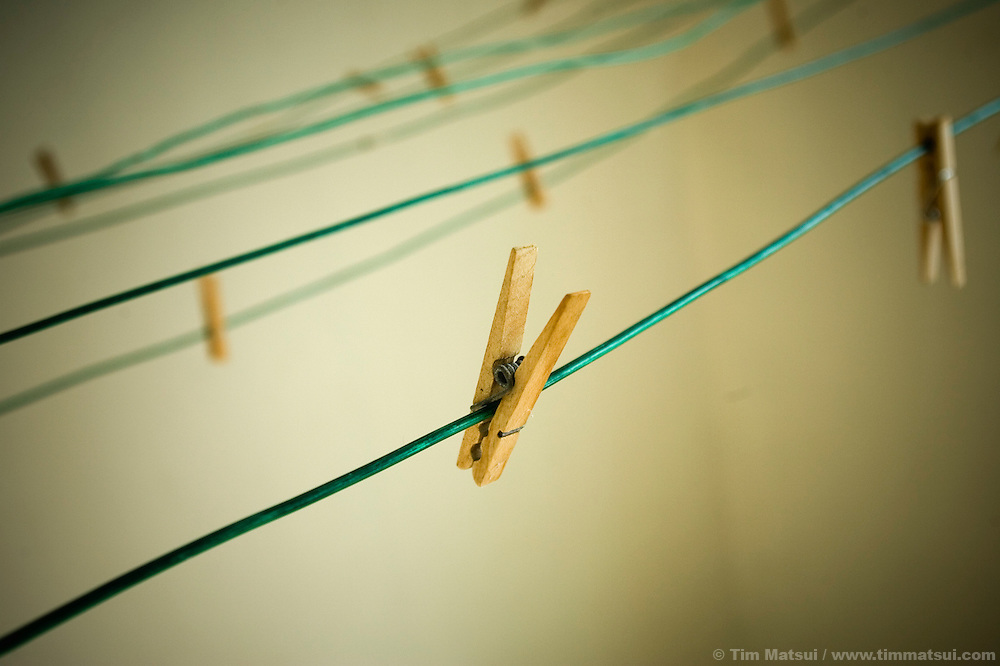 Clothes pins in a laundry room