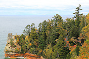 Miner's Castle is a famous, and fantastic tourist destination. Erosion and freeze/thaw cycles continue to alter the appearance of the castle, but that's just nature at work. This upper vantage point offers a breathtaking view. On windy days, the power of Lake Superior is evident as the huge waves crash into the cove below.