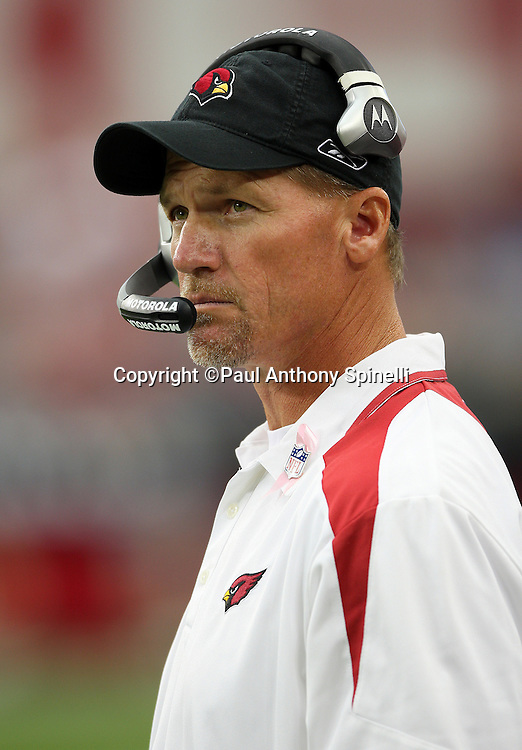 GLENDALE, AZ - OCTOBER 12: Head Coach Ken Whisenhunt of the Arizona Cardinals looks on while wearing a pink NFL lapel pin in recognition of National Breast Cancer Awareness Month during the game against the Dallas Cowboys at University of Phoenix Stadium on October 12, 2008 in Glendale, Arizona. The Cardinals defeated the Cowboys 30-24. ©Paul Anthony Spinelli *** Local Caption *** Ken Whisenhunt