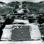 Detail of one flight of imposing stairs that posed many challenges for the archaeologists. <br />