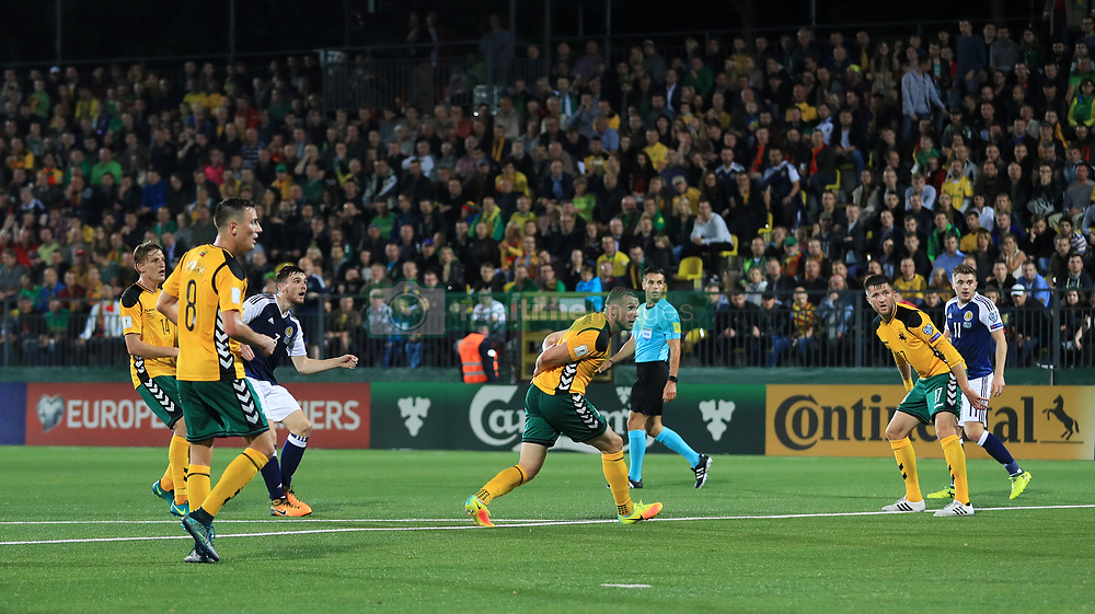 Scotland's Andrew Robertson (third left) scores his side's second goal during the 2018 FIFA World Cup Qualifying, Group F match at the LFF Stadium, Vilnius.