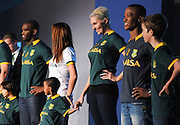 CAPE TOWN, SOUTH AFRICA - Thursday 24 April 2014, Liezel van der Westehuizen and Katlego Maboe during the Asics launch of the new Springbok rugby jersey at The Lookout in the V&amp;A Waterfront<br /> Photo by Roger Sedres/ImageSA