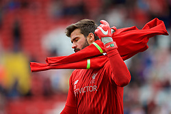 LIVERPOOL, ENGLAND - Saturday, September 22, 2018: Liverpool's goalkeeper Alisson Becker during the pre-match warm-up before the FA Premier League match between Liverpool FC and Southampton FC at Anfield. (Pic by Jon Super/Propaganda)