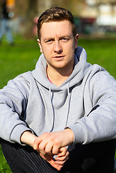Ben Gallagher, 23, from Manchester gives his views on Brexit on Clapham Common in South London. London, March 24 2019.