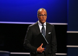HEMPSTEAD, Sept. 27, 2016 (Xinhua) -- Debate moderator Lester Holt presides over the first presidential debate between Democrat Hillary Clinton and Republican Donald Trump at Hofstra University in Hempstead of New York, the United States, Sept. 26, 2016. Donald Trump and Hillary Clinton on Monday held their first presidential debate in Hempstead. (Xinhua/Qin Lang) (zw) (Credit Image: © Qin Lang/Xinhua via ZUMA Wire)