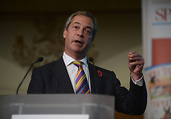 © Licensed to London News Pictures.31/10/2013. London, UK. Nigel Farage, the leader of the political party UKIP speaks during a debate on the high speed rail project, organised by political weekly The Spectator at Church House Conference Centre in London. Photo credit : Peter Kollanyi/LNP