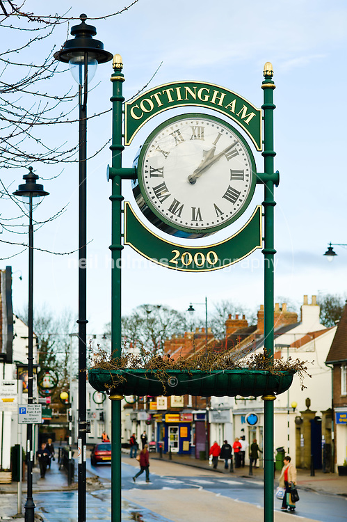 Cottingham's Millennium clock on the edge of Market Green
