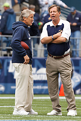 September 26, 2010; Seattle, WA, USA;  Seattle Seahawks head coach Pete Carroll (left) talks with San Diego Chargers head coach Norv Turner (right) before the game at Qwest Field.