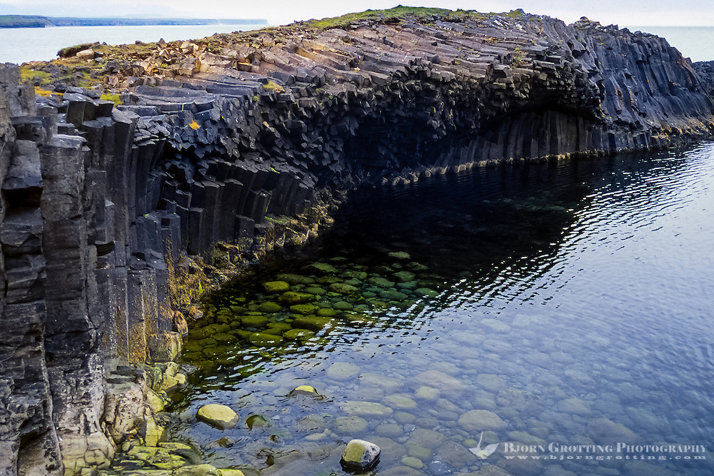 Iceland, Kálfshamarsvík is a small cove in the northern part of Skagi. Columnar basalt formations.