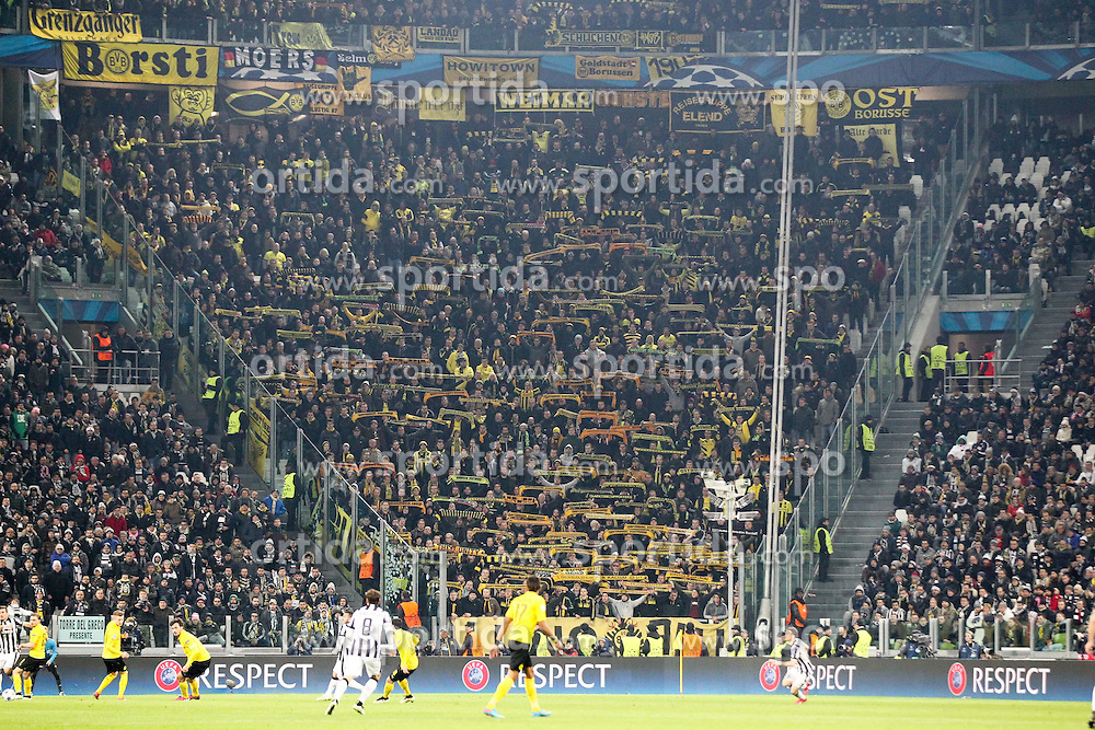24.02.2015, Veltins Arena, Turin, ITA, UEFA CL, Juventus Turin vs Borussia Dortmund, Achtelfinale, Hinspiel, im Bild Dortmunder Fanblock // during the UEFA Champions League Round of 16, 1st Leg match between between Juventus Turin and Borussia Dortmund at the Veltins Arena in Turin, Italy on 2015/02/24. EXPA Pictures &copy; 2015, PhotoCredit: EXPA/ Eibner-Pressefoto/ Kolbert<br /> <br /> *****ATTENTION - OUT of GER*****