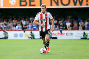 Brentford defender Callum Elder (3) dribbling during the EFL Sky Bet Championship match between Brentford and Ipswich Town at Griffin Park, London, England on 13 August 2016. Photo by Matthew Redman.
