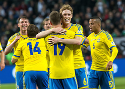 15.10.2013, Friends Arena, Stockholm, SWE, FIFA WM Qualifikation, Schweden vs Deutschland, Gruppe C, im Bild Sverige 19 Alexander Kacaniklic gratuleras av lagmedlemmar congratulations celebrate with team mates, , , Nyckelord , Keywords : football , fotboll , soccer , FIFA , World Cup , Qualification , Sweden , Sverige , Schweden , Germany , Tyskland , Deutschland jubel jublande glad gl©dje lycka happy happiness celebration celebrates // during the FIFA World Cup Qualifier Group C Match between Sweden and Germany at the Friends Arena, Stockholm, Sweden on 2013/10/15. EXPA Pictures © 2013, PhotoCredit: EXPA/ PicAgency Skycam/ Ted Malm<br /> <br /> ***** ATTENTION - OUT OF SWE *****