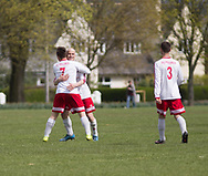 Krystian Kunc (is congratulated after scoring for FC Polonia (white) v Dundee Social (ligtht blue) during the Association Cup semi final  at Fairmuir, Dundee, Photo: David Young<br /> <br />  - &copy; David Young - www.davidyoungphoto.co.uk - email: davidyoungphoto@gmail.com