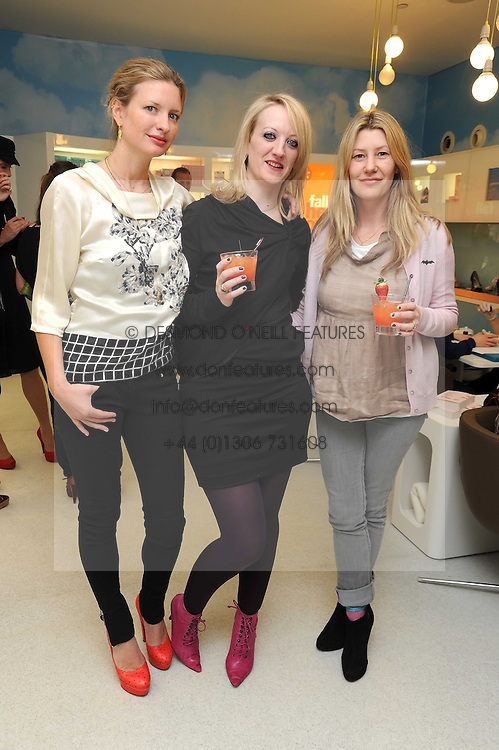 Left to right, LAINEY SHERIDAN-YOUNG, CAMILLA MORTON and SARA PARKER BOWLES at a party to celebrate the publication of Camilla Morton's book 'A Year in High Heals' held at Bliss Spa, 60 Slaone Avenue, London on 5th February 2009.
