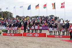 1 Team Germany, 2 Team Sweden, 3 Team France <br /> 1 Germany: Dibowski Andreas (GER) , Klimke Ingrid (GER), Jung Michael (GER), Schrade Dirk (GER) <br /> 2 Team Sweden: Andersen Frida (SWE), Lindback Niklas, Algottson Ostholt Sara (SWE), Svennerstal Ludwig (SWE)<br /> 3 Team France: Touzaint Nicolas, Boiteau Arnaud, Schauly Donatien, Nicolas Astier<br /> HSBC FEI European Championships Eventing - Malmö 2013<br /> © Dirk Caremans