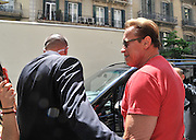 BARCELONA, SPAIN, 2016, MAY 19 <br /> <br /> Arnold Schwarzenegger, again in Spain for his assistance in the presentation of bodybuilding and fitness festival for the first time held in Barcelona. He returned to leverage for sightseeing, visiting some its most famous landmarks. The actor and former governor of California, who has returned to the movies playing back the legendary cyborg T-800 in Terminator Genesis has moved through the city aboard black vans. Protected at all times by his team of bodyguards, he stopped at a tobacco shop. He left the place, smoking a cigar. Before entering a moment he stopped and putting his glasses he made his characteristic gesture of his character in Terminator<br /> ©Exclusivepix Media