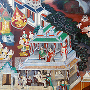 Ornate painting and detail of Wat Khongkharam temple in Photheram, Ratchaburi, Thailand. This ancient ethnic Mon temple shows depictions from the early Bangkok period.